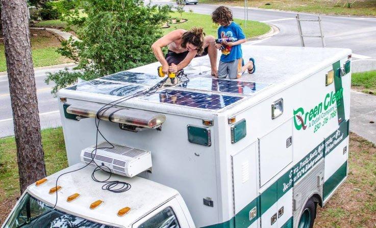 Ben Kaden installing a Narwhal Solutions Mobile Solar Design